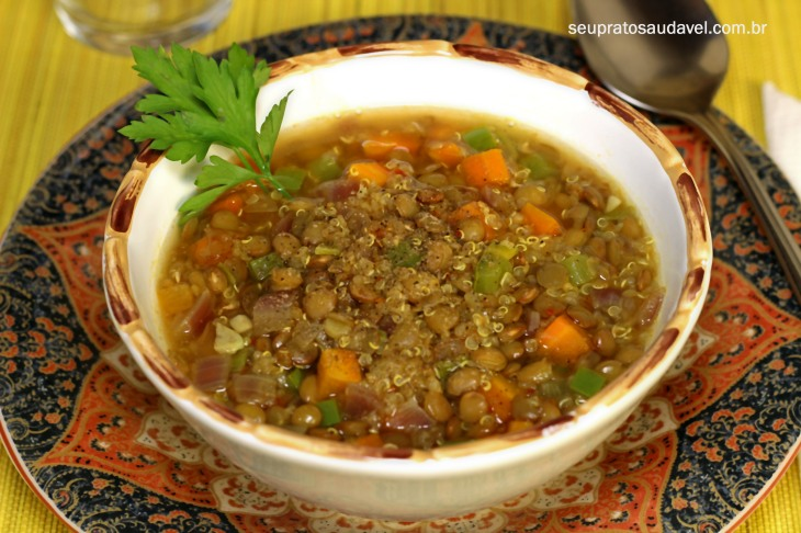 Sopa de quinoa com lentilha 3